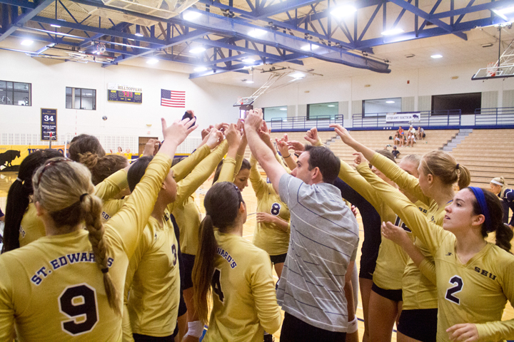 St.+Edward%27s+women%27s+volleyball+team+prepares+mentally+before+the+start+of+any+match.