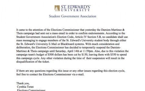 Damian-Martinez-Theis Campaign temporarily suspended for breaking election code